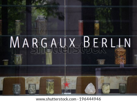 "CIRCA MAY 2014 - BERLIN: the logo of the exclusive restaurant """"Margaux"" in the Mitte district of Berlin."