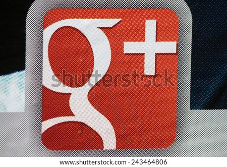 "CIRCA OCTOBER 2014 - BERLIN: the logo of the brand ""Google plus"", Berlin. - stock photo"