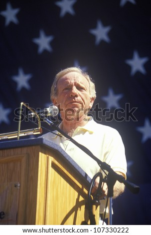 CIRCA 2000 - Senator Joe Lieberman campaigns for vice president during a rally at California State University at Fresno