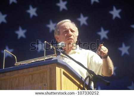 CIRCA 2000 - Senator Joe Lieberman campaigns for vice president during a rally at California State University at Fresno - stock photo
