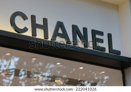 "CIRCA SEPTEMBER 2014 - BERLIN: the logo of the brand ""Chanel"", Berlin."