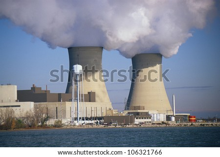 CIRCA 1998 - These are two nuclear power plants situated on Lake Erie. These are the Enrico Fermi power plants. - stock photo