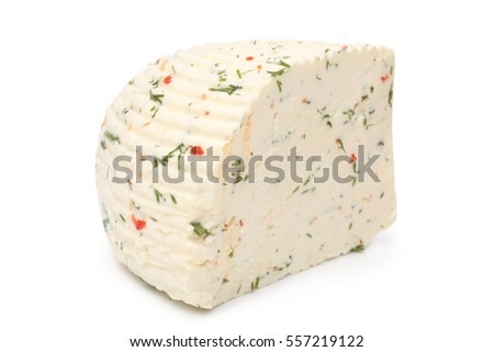 Circassian cheese with herbs and paprika on white background