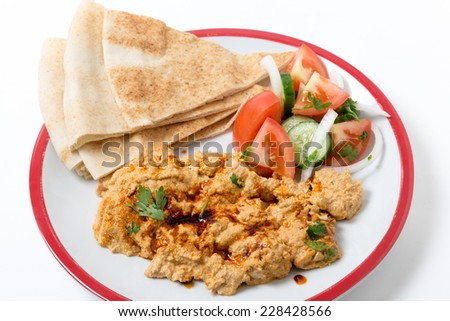Circassian chicken, shredded breast in a walnut sauce, served with ...
