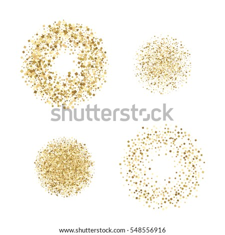 Circle and Ring set with gold glitter particles, realistic effect, on white background. Abstract luxury Raster copy illustration. Sand colors.
