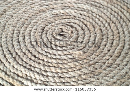 Circle bunch of ship rope can be used for background - stock photo
