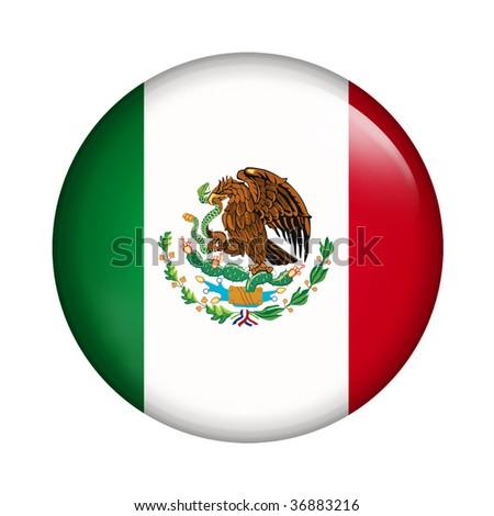 Circle button flag of Mexico - stock photo