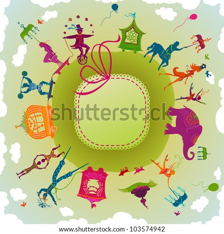 circle card showing colorful circus caravan with magician, elephant, dancer, acrobat, mermaid and other fun characters - stock photo