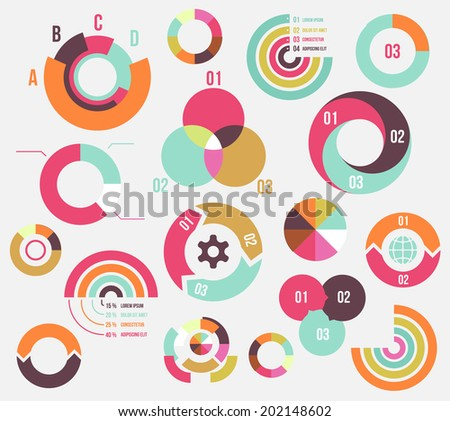 Circle charts and diagrams templates collection for business - stock photo