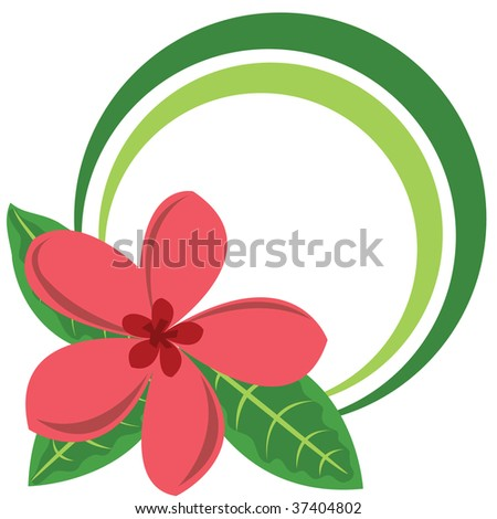 Circle color frame with big tropical flower - stock photo