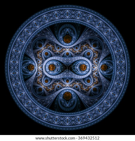 Circle design. Abstract fractal pattern, symmetric royal blue background with diamonds.  - stock photo