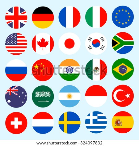Circle flags of the world. Flags icons in flat style. Simple flags of the countries. - stock photo