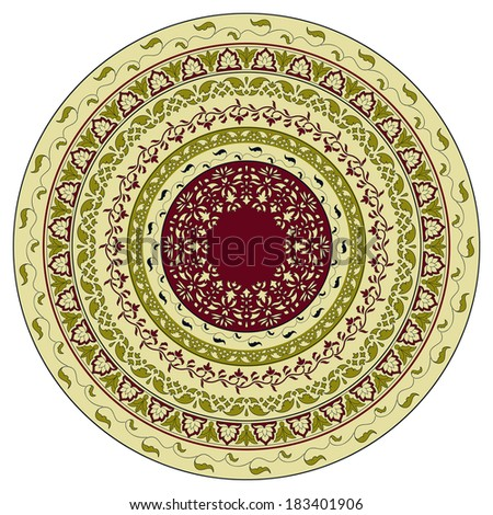 circle floral pattern, indian style, can be used as plate, mandala - stock photo