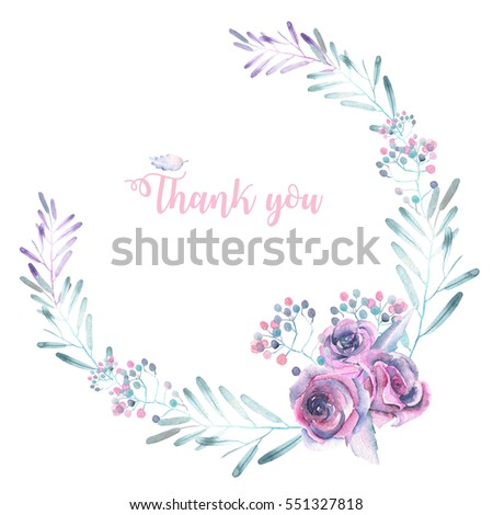 Circle Frame Border Wreath Watercolor Tender Stock Illustration 551327818