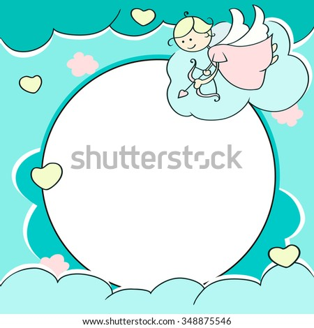 Circle frame for valentines day cards with clouds, hearts, angel and arrow. Background with Cute cartoon cupid and place for text.  - stock photo