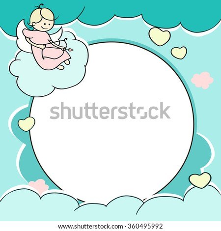 Circle frame for valentines day cards with clouds, hearts, angel and arrow. Background with Cute cartoon cupid and place for text. Romantic illustration.  - stock photo