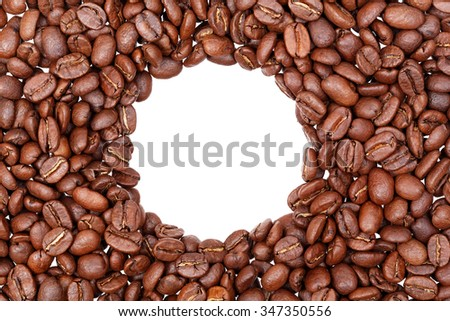 Circle frame of roasted coffee beans isolated on white may use as background or texture - stock photo