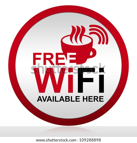 Circle Free Wifi Available Here With Glossy Style for Coffee Shop Isolated on White Background