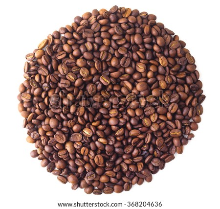 Circle from Coffee beans on white isolated background - stock photo