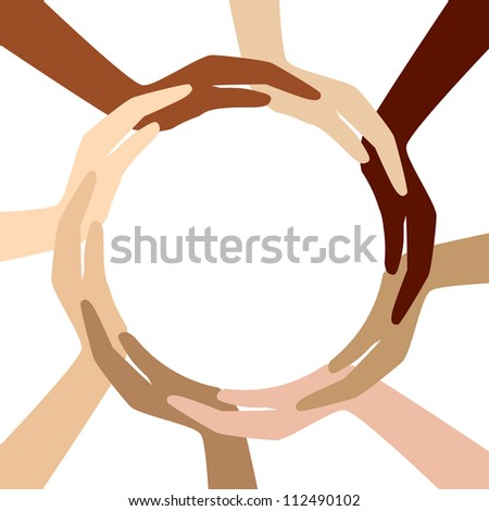 circle from different hands - stock photo