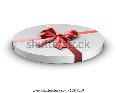 Circle gift with satin bow - stock photo