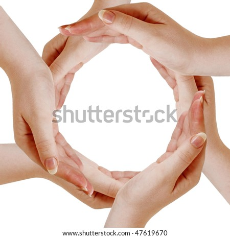 Circle made of human hand isolated on white