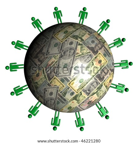 circle of abstract people around American dollars sphere illustration