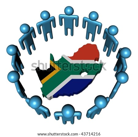Circle of abstract people around South Africa map flag illustration - stock photo