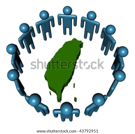 Circle of abstract people around Taiwan map illustration
