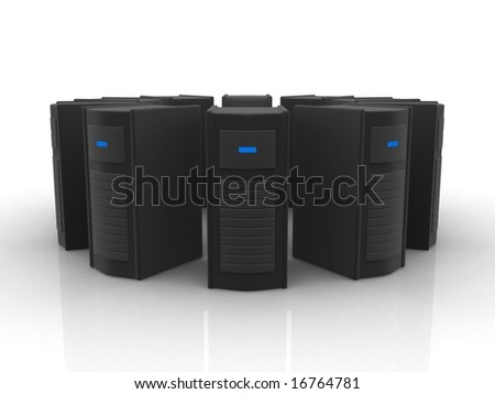circle of black servers - stock photo