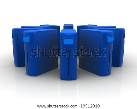 Circle of blue servers - stock photo