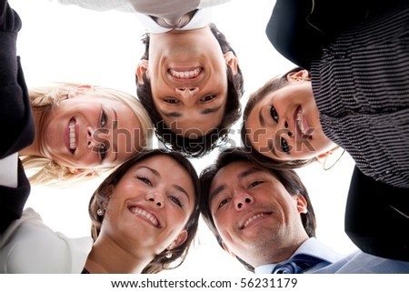 Circle of business people isolated over a white background - stock photo