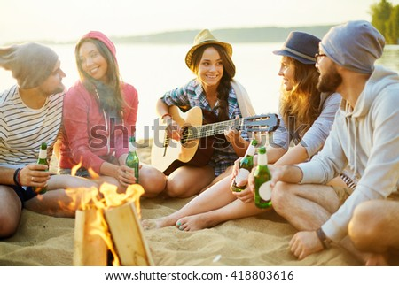 Circle of campers - stock photo