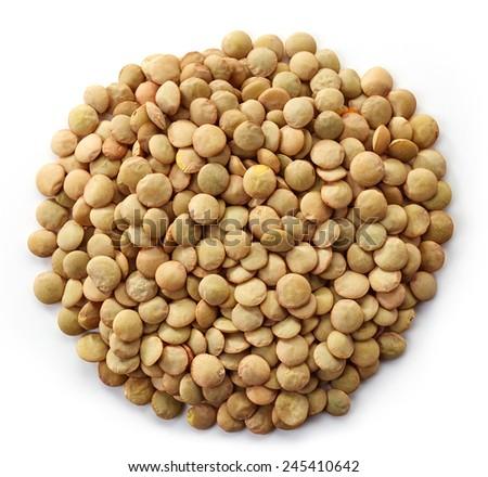 Circle of canadian lentils isolated on white background - stock photo