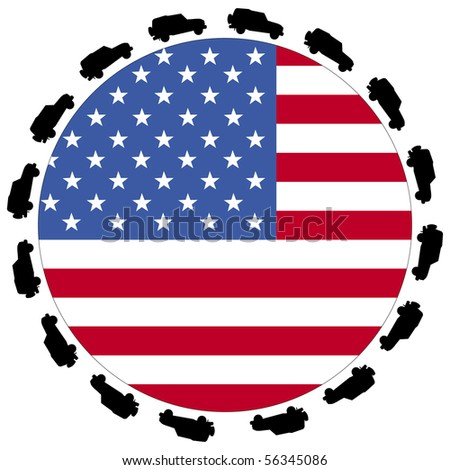 circle of cars around round American flag illustration JPEG - stock photo