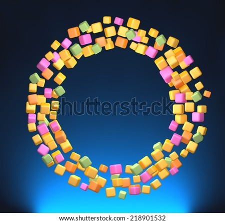 Circle of colored cubes. 3D rendering - stock photo