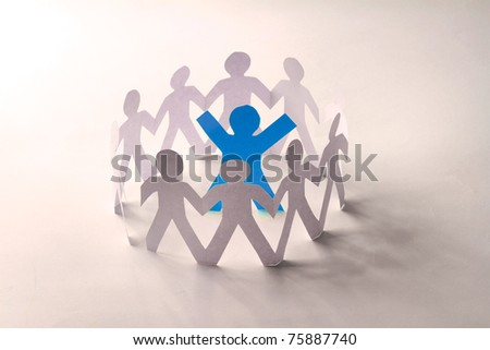 Circle of colorful people with clipping path - stock photo