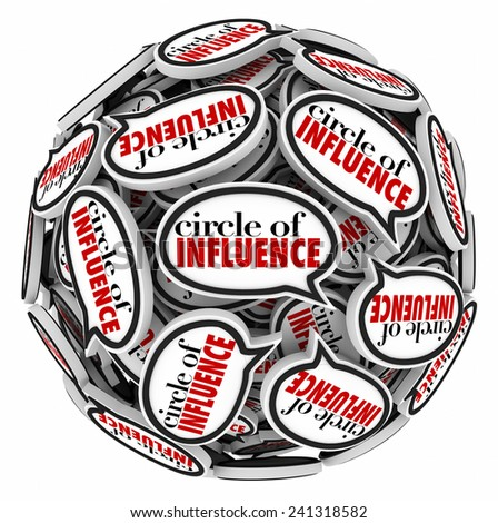 Circle of Influence words in speech bubbles in a sphere to illustrate communication and messages in networking with people in your career or professional group - stock photo
