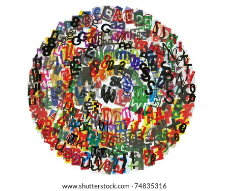 circle of newspaper letters, numbers and punctuation marks - stock photo