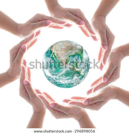 Circle of people left hands group on white background surround green earth: Conceptual symbol of human hands surrounding the globe with world map background: Elements of this image furnished by NASA   - stock photo