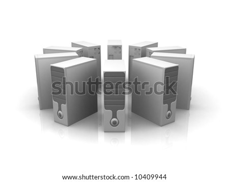 circle of silver servers - stock photo