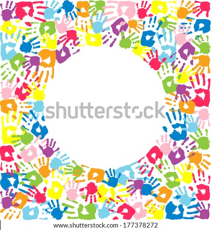 Circle of the handprints of father, mother and children - stock photo