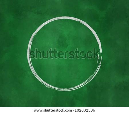 Circle on Green Chalk Board - stock photo