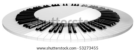circle piano keyboard stage isolated on white - stock photo