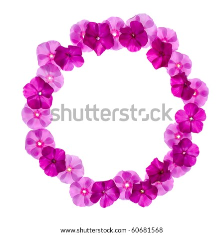 circle pink floral frame isolated on white background - stock photo