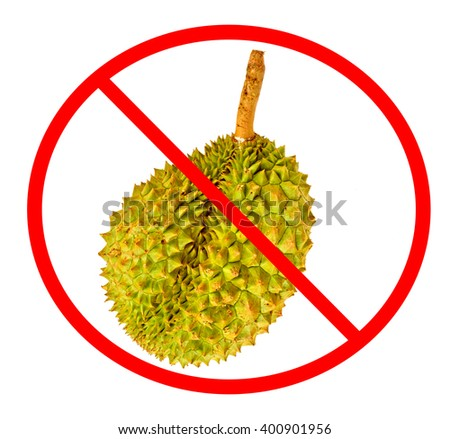 Circle Prohibited red Sign on Durian photo For No Durians Allowed on White Background. Durian is a fruit that has a strong smell. - stock photo