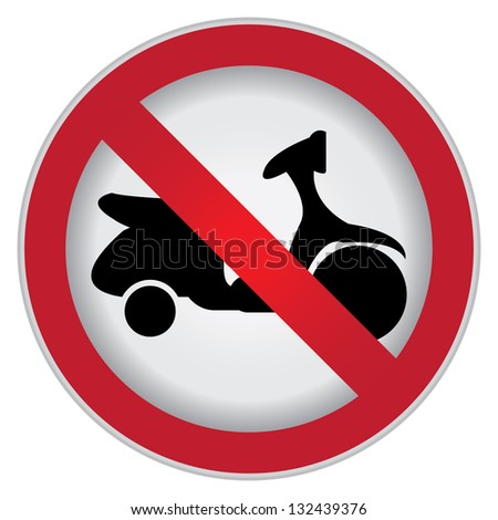 Circle Prohibited Sign For No Motorcycle or No Parking Sign Isolate on White Background - stock photo