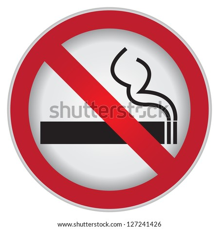 Circle Prohibited Sign For No Smoking Area Sign Isolate on White Background