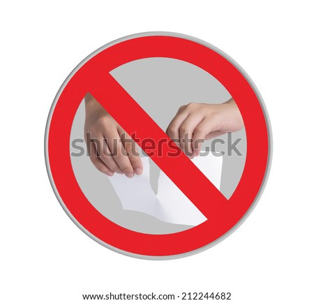 Circle prohibited sign for no tearing paper allowed isolated on white background  - stock photo