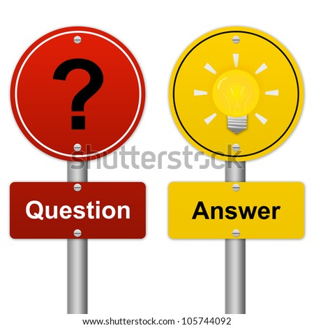 Circle Question and Answer Road Sign in Metallic Style Isolated on White Background - stock photo